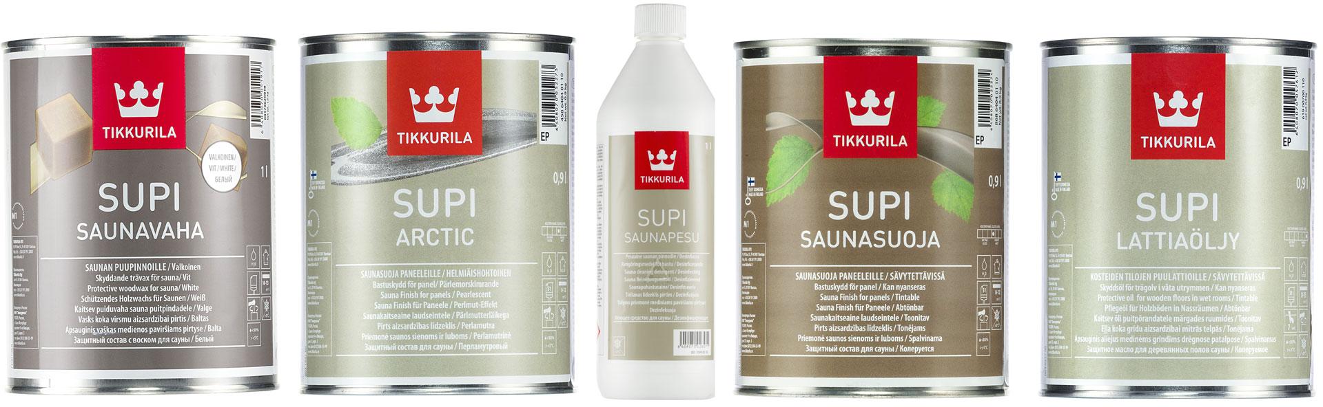 Tuotteet säväyttävän saunan tekemiseen: Supi Saunavaha, Supi Arctic, Supi Saunapesu, Supi Saunasuoja ja Supi Lattiaöljy.