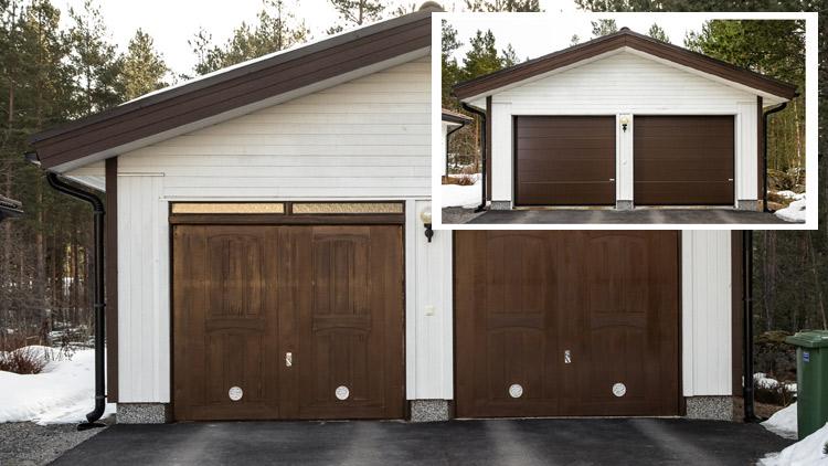 Vanhat autotallin ovet vaihtuivat Crawfordin autotallin nosto-oviin.