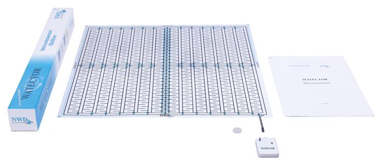 Watector vesivuotosensorin toimituspakkauksessa on kaikki mitä tarvitset asennusta varten.