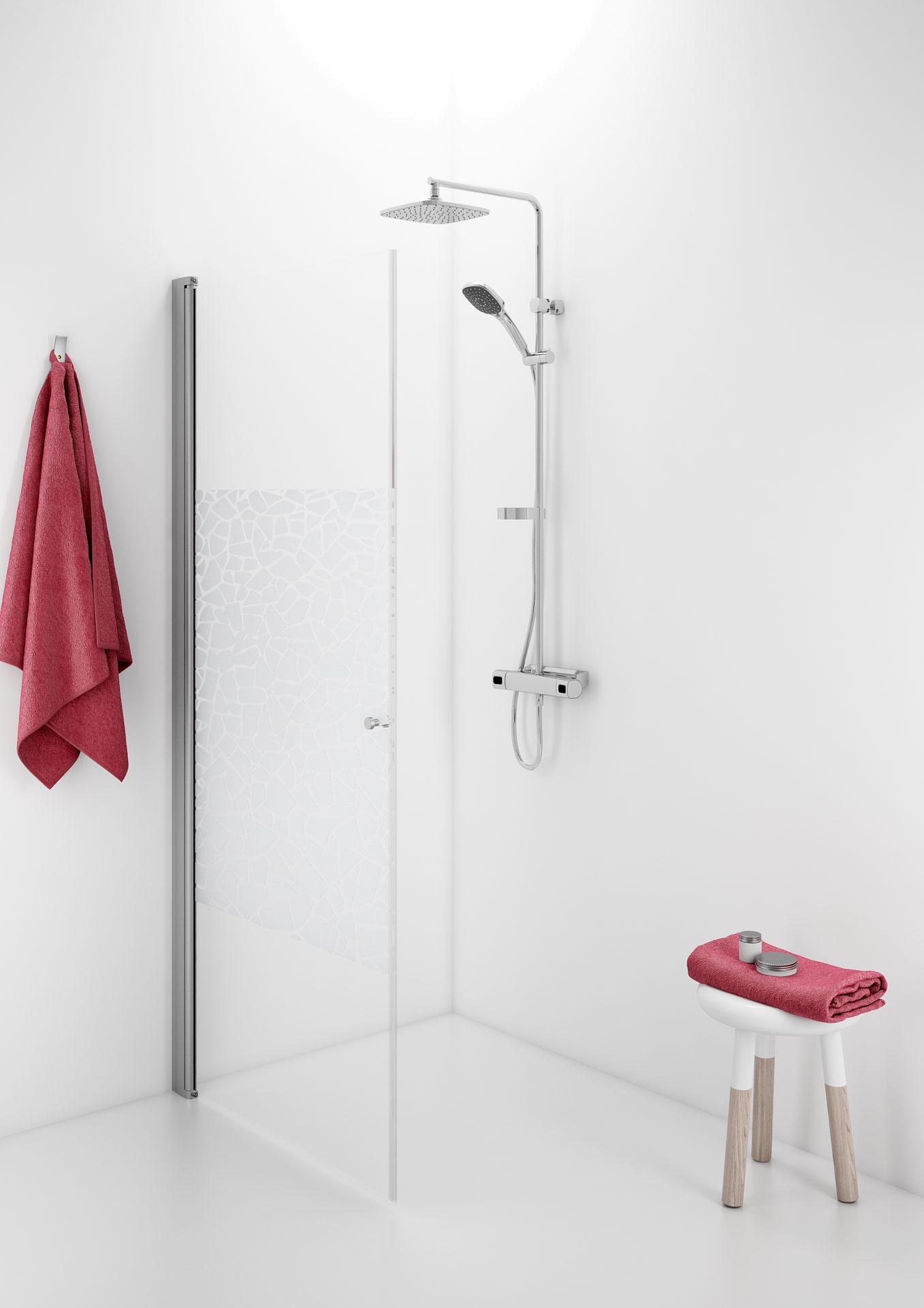 Suora suihkuovi, joka avautuu molempiin suuntiin ja voidaan taittaa myös seinää vasten.