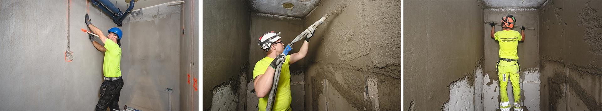 Pumppurappauksen valmistelevat työt tehdään edeltävänä päivänä. Sitten pumpataan ja heti pumppauksen perään pinta tasoitetaan.