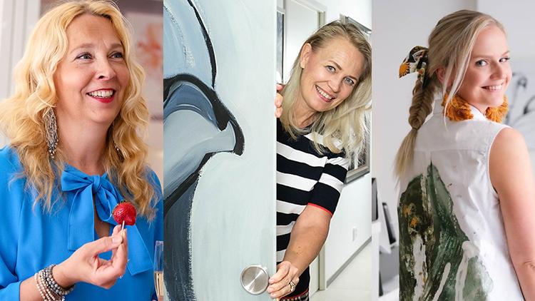 Liune taideovien yhteistyökumppanit Nina Kellokoski, Johanna Oras ja Lotta Sirén.