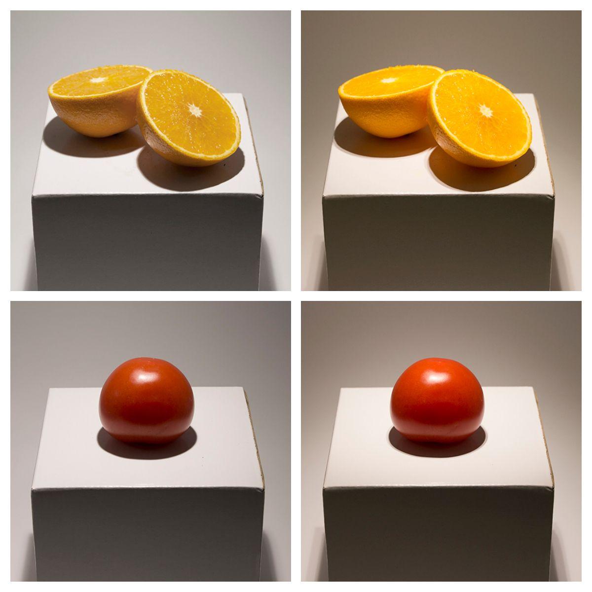 KUVA 3: Appelsiini ja tomaatti saavat oikeat sävynsä, kun niitä valaistaan korkean värintoiston led-lampulla. Vasemmanpuoleisissa kuvissa CRI on 80 ja oikeanpuoleisissa kuvissa CRI on 98. Kuvia ei ole käsitelty.