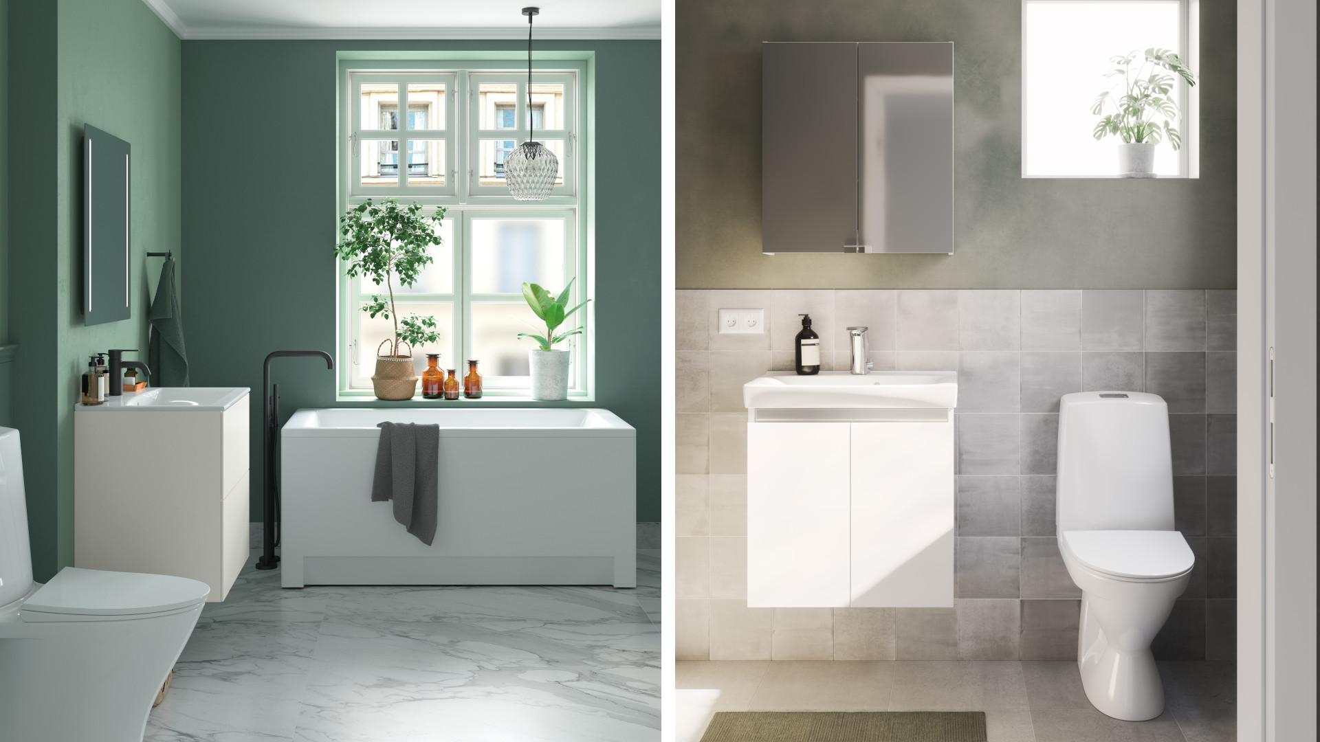 IDO Elegant ja IDO Light ovat tyyliltään ajattomia kalustesarjoja, jotka sopivat erikokoisiin kylpyhuoneisiin.
