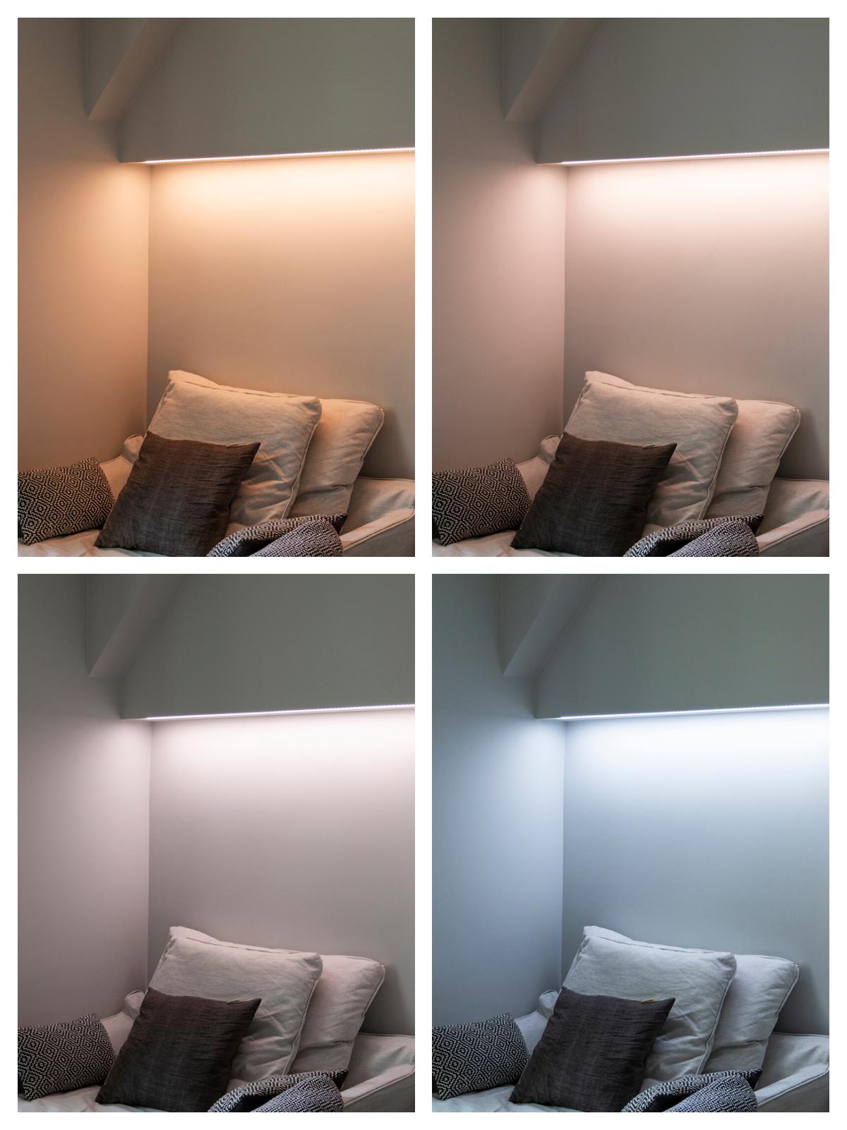 Kuva 3. Värilämpötilan vaihtelulla saadaan aikaan erilaisia tunnelmia. Kuvassa värilämpötilasäädettävä CCT-led-nauha rakenteeseen upotetussa alumiiniprofiilissa.