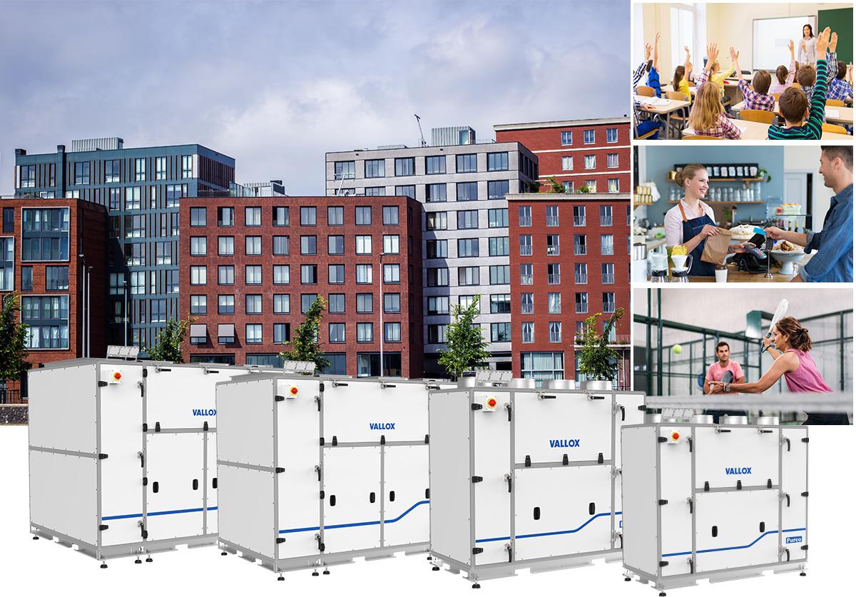 Vallox Pureo -ilmankäsittelykoneet sopivat toimi- ja liiketiloihin sekä julkisiin rakennuksiin. Tyypillisiä kohteita ovat liiketilat, toimistot, päiväkodit ja koulut.Tuotemallistossa on neljä pystylähtöistä konetta. Niiden ilmamäärät ovat 500 – 1800 litraa sekunnissa.