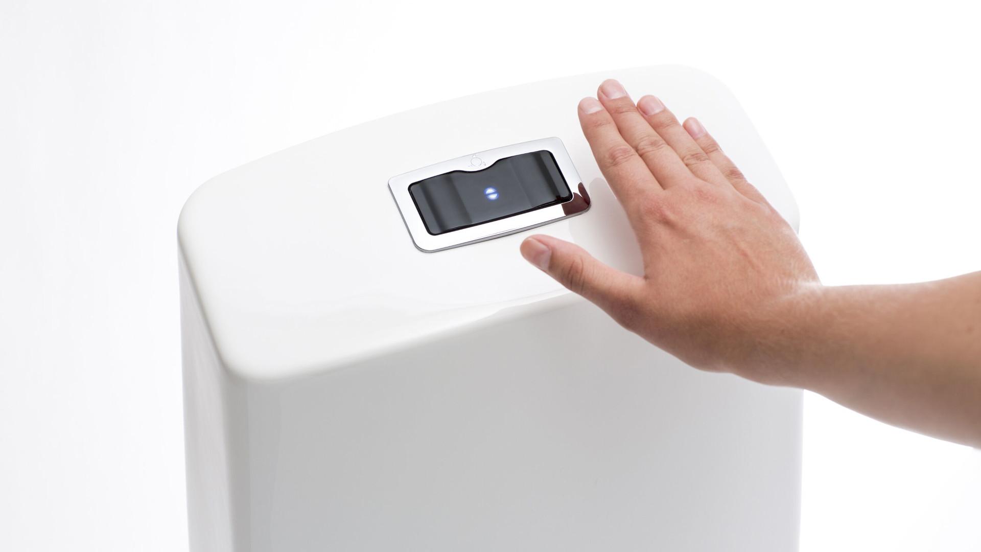 IDO Glow Sensorissa yhdistyvät kosketusvapaus ja huuhtelupainikkeen virtaviivainen muotoilu.