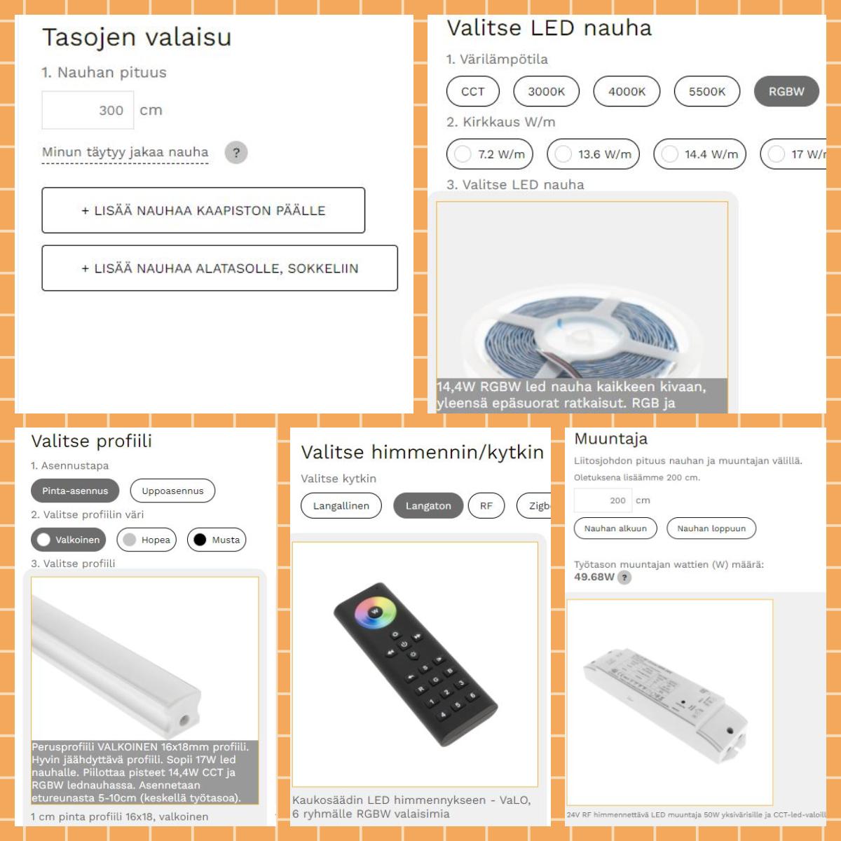 Kuva 3. Laskurissa valitaan tason pituus, led-nauha, alumiiniprofiili ja käyttötapa, jolloin laskuri antaa tähän sopivan muuntajan.
