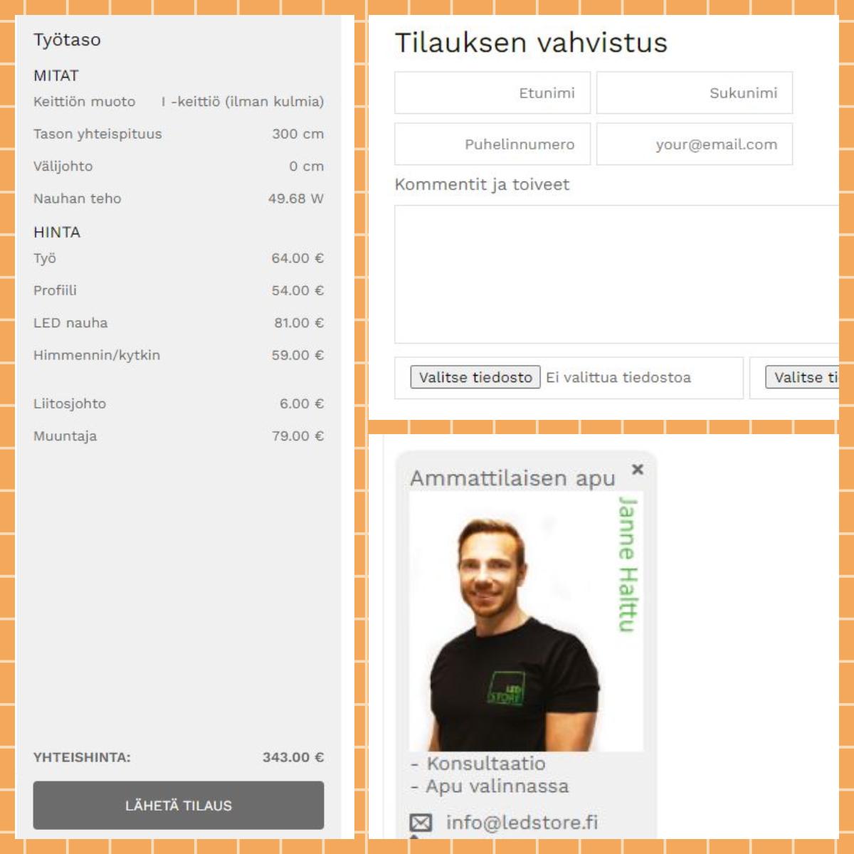 Kuva 4. Kun tuotteet on valittu, hinta näkyy heti eriteltynä kokonaishintana, kun kiskot kasataan LedStoren LedPajalla asennusvalmiiksi. Tilauksen vahvistus ei vielä veloita asiakasta, joten suunnitelman voi huoletta lähettää, jolloin se tulee itselle sähköpostiin, sekä lähtee tiedoksi myös LedStoreen, jotta jatkokeskustelut ovat mahdollisia. Kaikkiin kysymyksiin vastaavat Janne ja Marko.