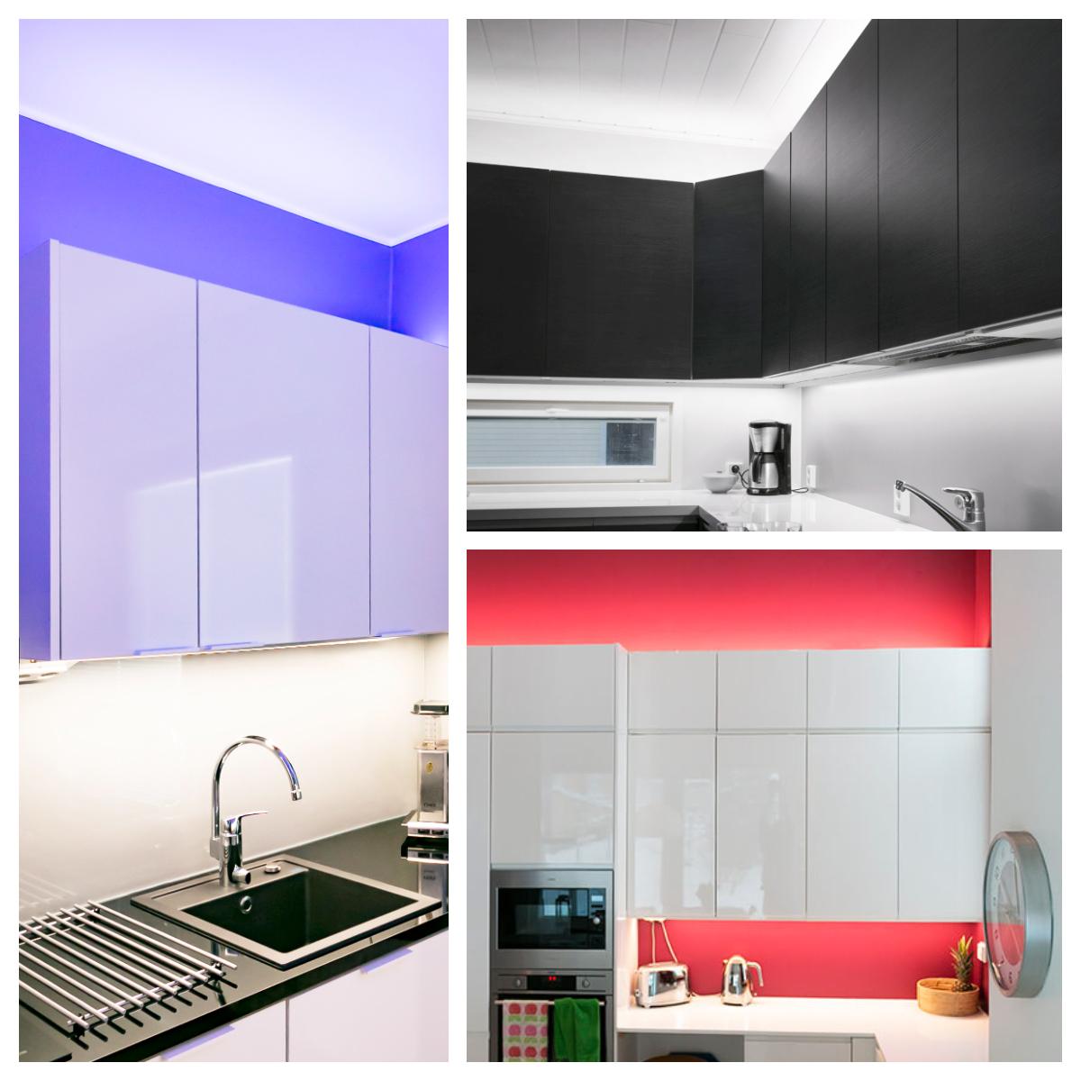Kuva 5. Valmiita led-kiskoja. Valaistus sekä työtasolla että kaapiston päällä tuovat ilmavuutta ja tunnelmaa. Violetti sävy vasemmanpuoleisessa kuvassa RGB led-nauhasta.