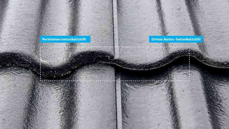 Kuvassa vasemmalla on perinteinen betonikattotiili ja oikealla Ormax Aerlox.