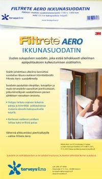 Filtrete Aero tuloilmasuodatin ikkunaan