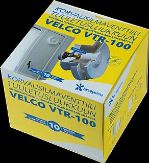 Korvausilmaventtiili Velco VTR-100 puiseen tuuletusluukkuun, valkoinen